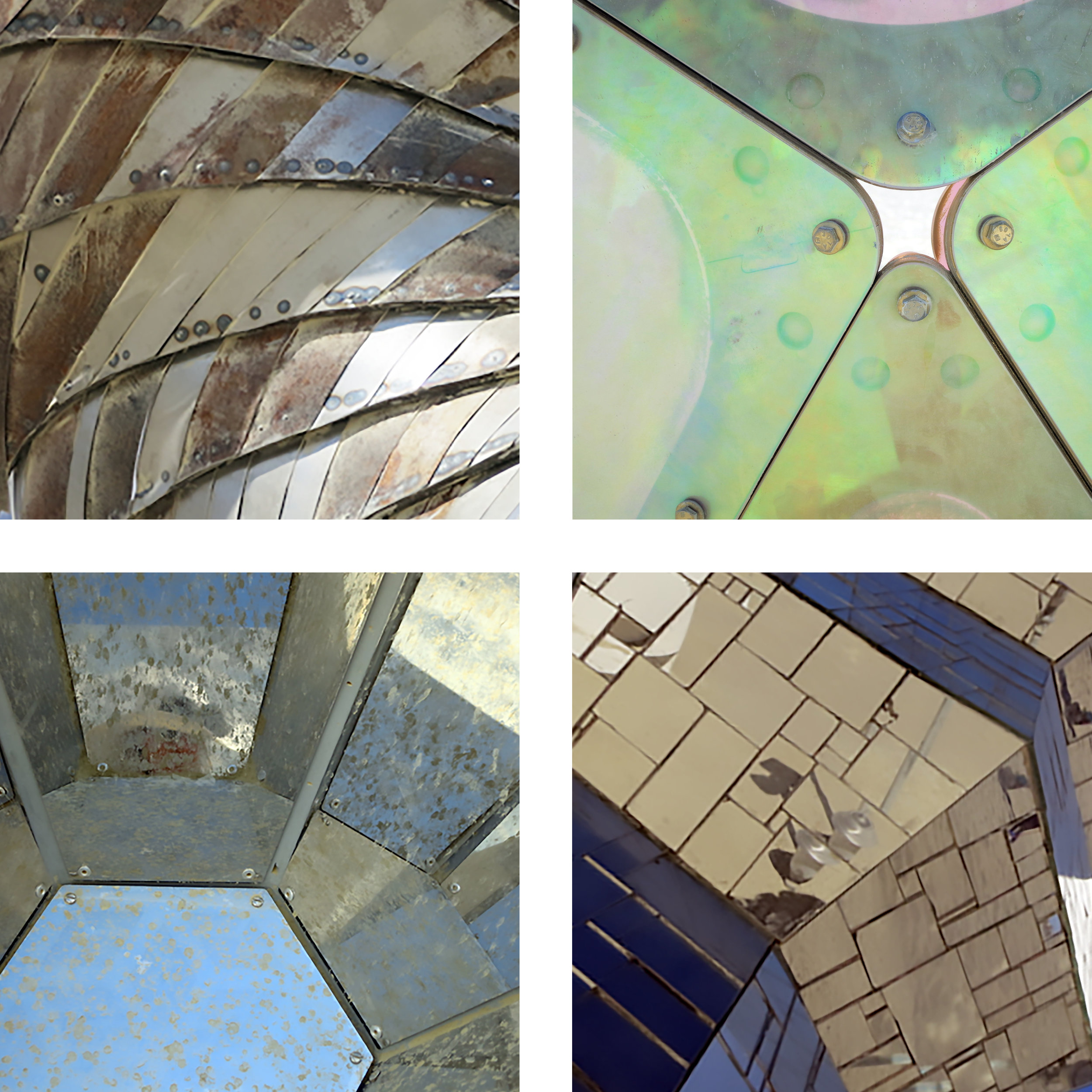 Fascinating mirrored facets, dulled by dust from the playa.