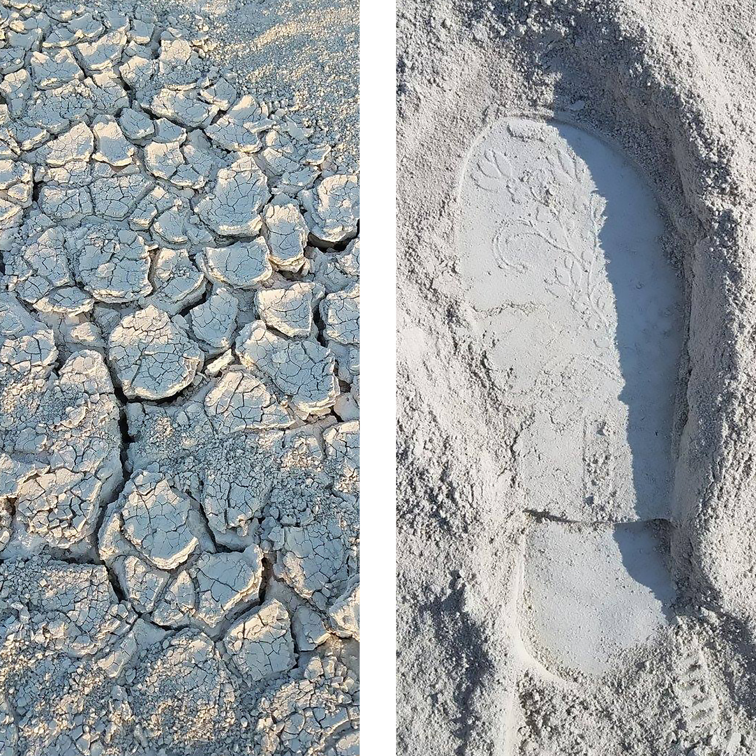 The surfaces of the playa. Images thanks to  Tessa Thornberry .