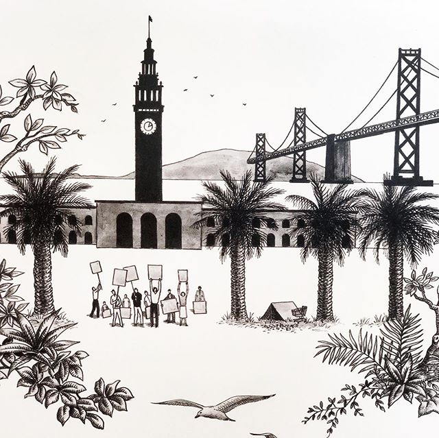 More glimpses of the @sfshowcase This time a witty toile-style wallpaper by @willemrackestudio depicting contemporary SF life. I love to protest scene outside the Ferry Plaza, it reminds me of my childhood. #activistmom #sfdecoratorshowcase #thetextileeye #toile #moderntoile #blackandwhite @susan_lind_chastain