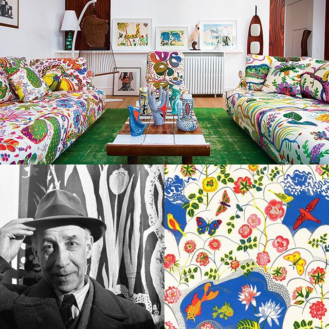 "Happy Birthday Josef Frank! Born on this day in 1885, Josef was to become prolific creative with talents ranging from architecture to furniture and textiles. At the age of 48 he was forced to flee Vienna for Stockholm, where he found a new creative home at @svenskttenn, a design firm still producing his prints today. His success was in large part due to his design partner Estrid Ericsson, and together they became the model for ""Swedish Modern"". He created a fantasy world with his prints, rebuking modernism's standardized interiors. He believed that ""the monochromatic surface appears uneasy, while prints are calming, and the observer is unwillingly influenced by an underlying slow approach. The richness of decoration can not be fathomed so quickly, in contrast to the monochromatic surface which doesn't incite any further interest and therefore one is immediately finished with it."" At the height of WW2 he was again displaced, fleeing to New York for the duration of the war. His influence on the design legacy of Sweden, his adopted country, is felt to this day.  Grattis på födelsedagen, Josef Frank! #thetextileeye #textiledesignerbirthdays"