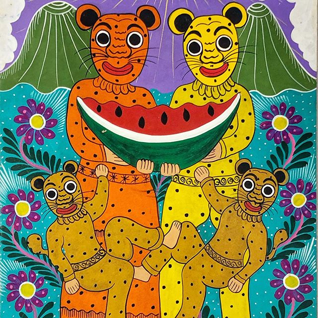 A wonderful family of leopard dancers with a watermelon (a symbol of abundance) as depicted by @famartslorenzo, spotted @folkartmarket in Santa Fe last weekend. #familialorenzo #thetextileeye #leopardprint #ifam2019 #folkart