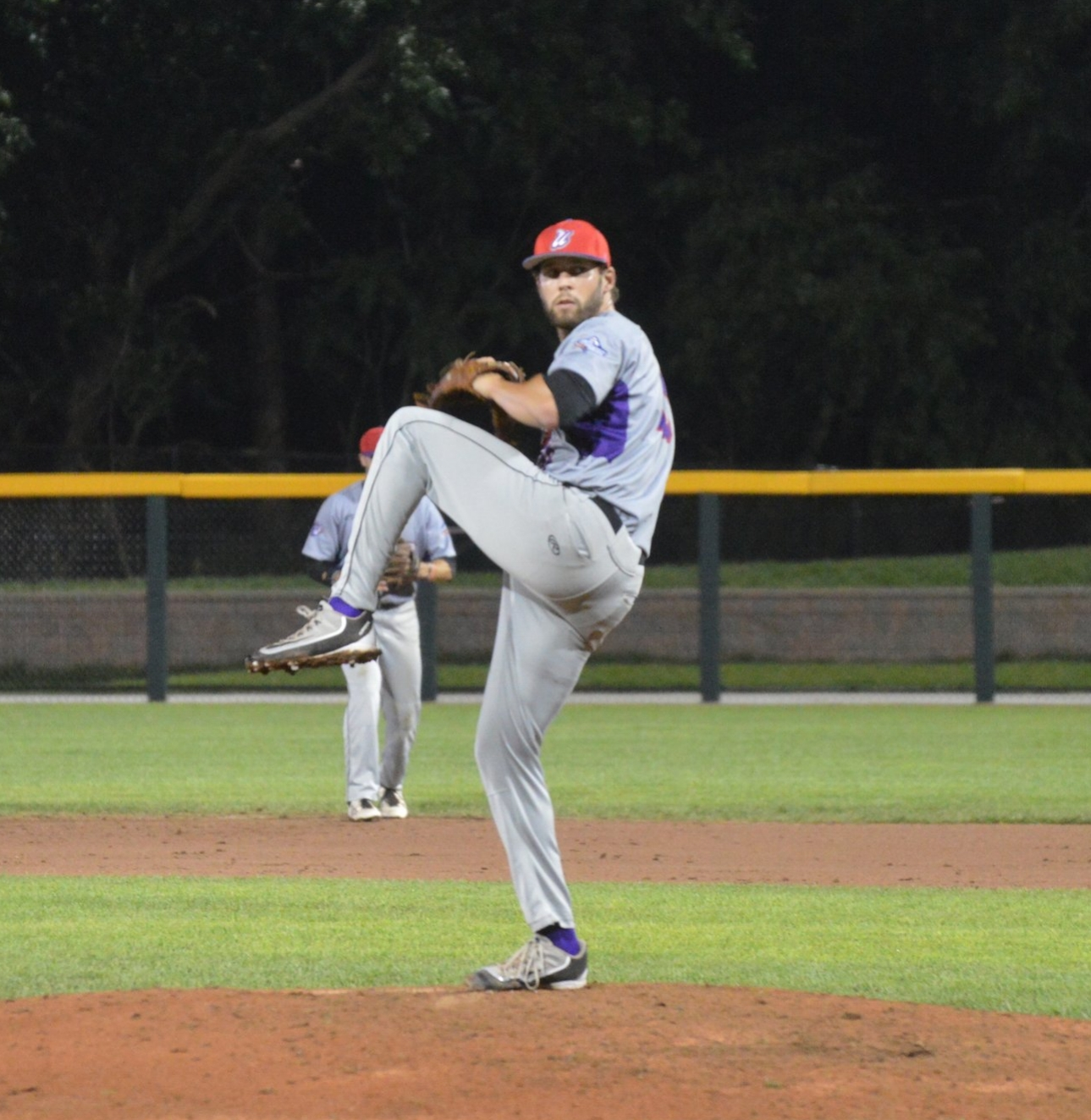 Ezell pitching in the playoff game against the Eastside Diamond Hoppers