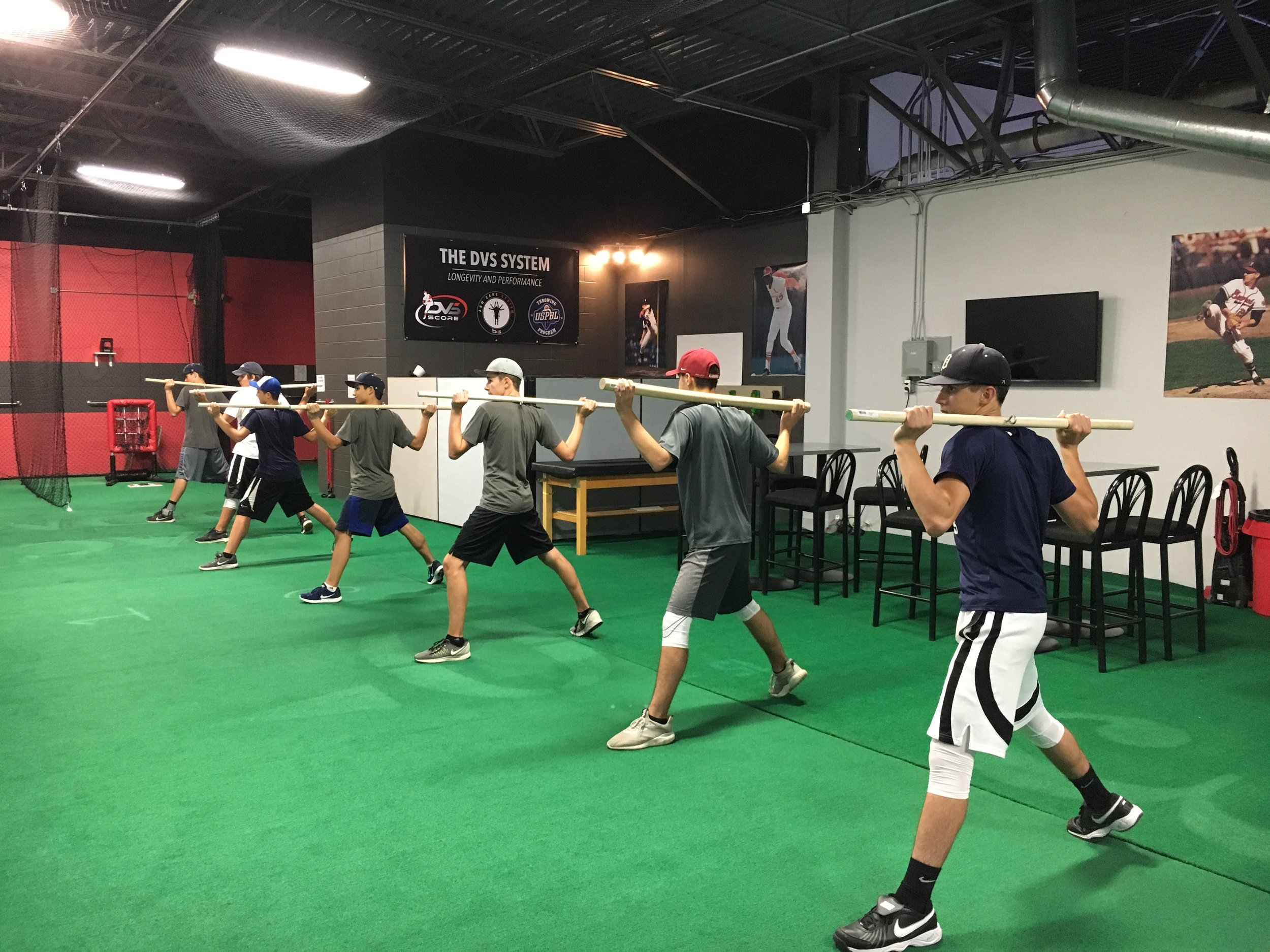 Team Training - Group / Team training combine movement improvement exercises with core exercises and our DVS Arm Care System. The movement portion of our classes touch on all the phases of the pitching delivery with each class having an emphasis on one core component.