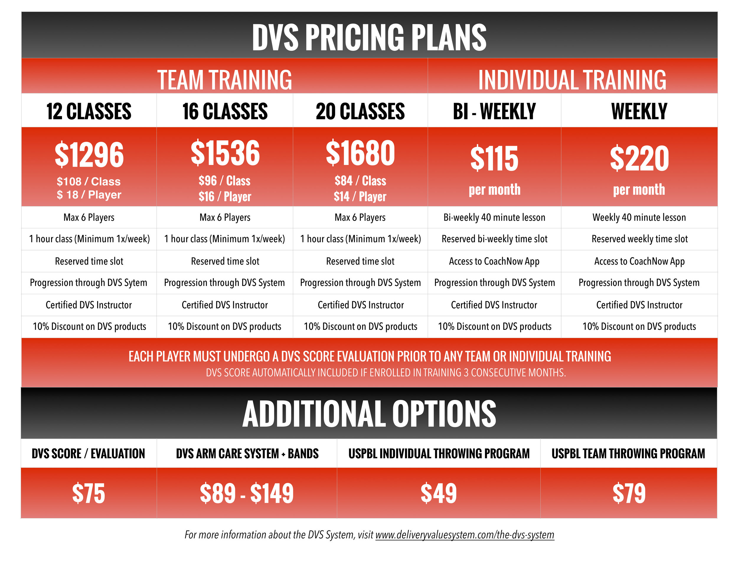 Pricing Plans - We have tailored pricing plans/options to suit every type of player and budget. Our recommendations are built around a client's DVS Score, age, current level of play, and goals/expectations.