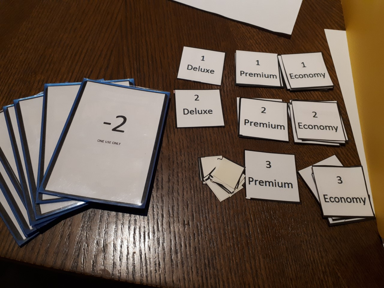 Goods & shares tokens on the right, and the pricing vote cards on the left.