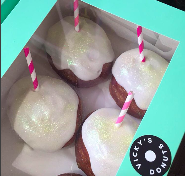 Lemonade donuts: lemon icing with a straw to suck out the lemon curd filling