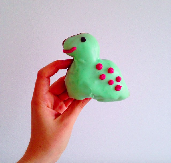 Dinosaur donut: vanilla bean glaze