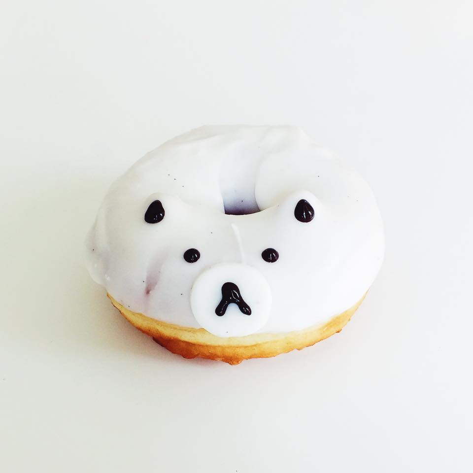 Bear donut: vanilla bean icing with fondant nose and chocolate detail