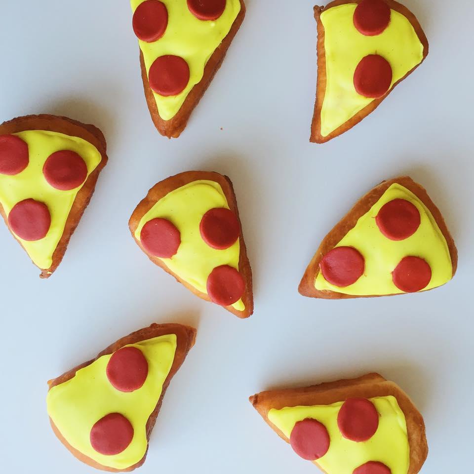 Pizza donuts: vanilla bean glaze with fondant 'pepperoni' pieces