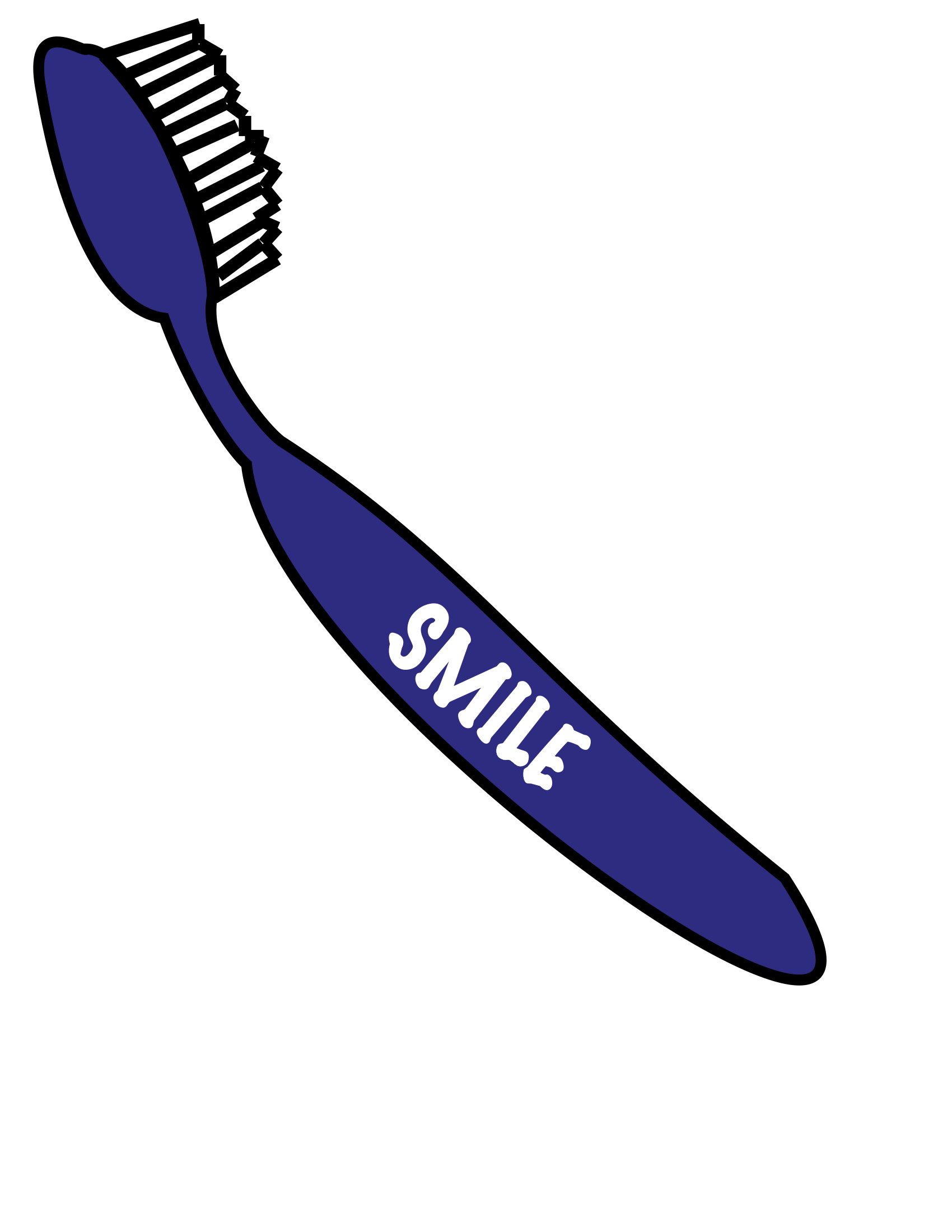 "Cartoon of a toothbrush that says ""smile"" on its handle"
