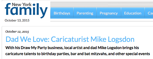 New York Family Magazine wrote an article about me! Click this link http://bit.ly/1N9kLkC!  to read all about how I started Draw My Party. See why I love it so much, and what my favorite part of the job is.