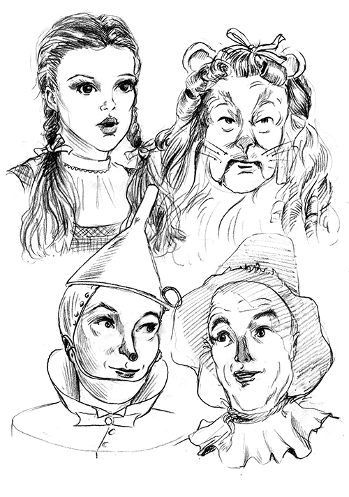 Here is a drawing I just did today of the cast from the Wizard of Oz. It's a little more of a straight drawing than a caricature. I always loved this movie, and it was a lot of fun to draw the characters.   www.caricaturesbymikelogsdon.com