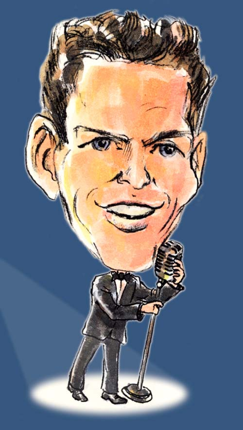 My wife and I went to a Frank Sinatra tribute concert yesterday at Carnegie Hall, and it inspired me to draw a caricature of Ol' Blue Eyes. They had four singers, and the entire New York Pops Orchestra behind them.Frank was before my time (I'm not THAT old), but the music was great.   www.caricaturesbymikelogsdon.com