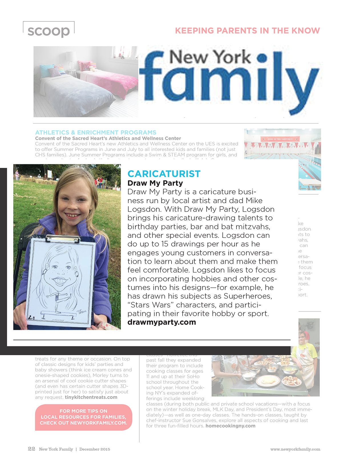NY Family Scoops Caricature article