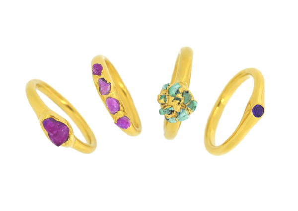 1. Mabel Hasell - Gold plated crystal and amethyst rings.jpg