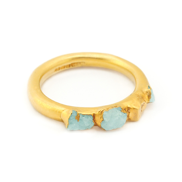 3. Mabel Hasell - Gold plated aquamarine crystal ring.jpg