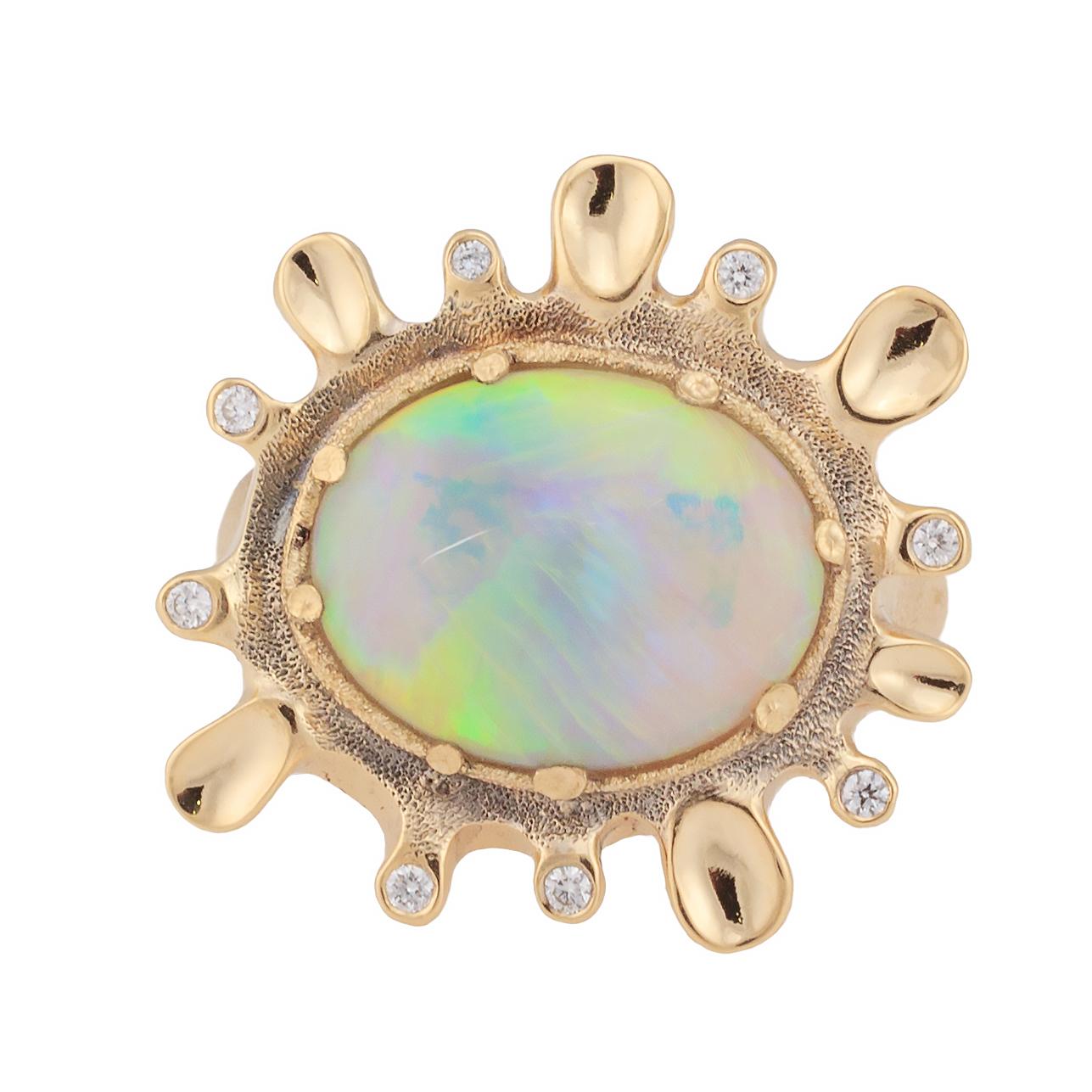 Dawn. 4.63ct White Opal, 18K  yellow gold and white diamond ring.jpg