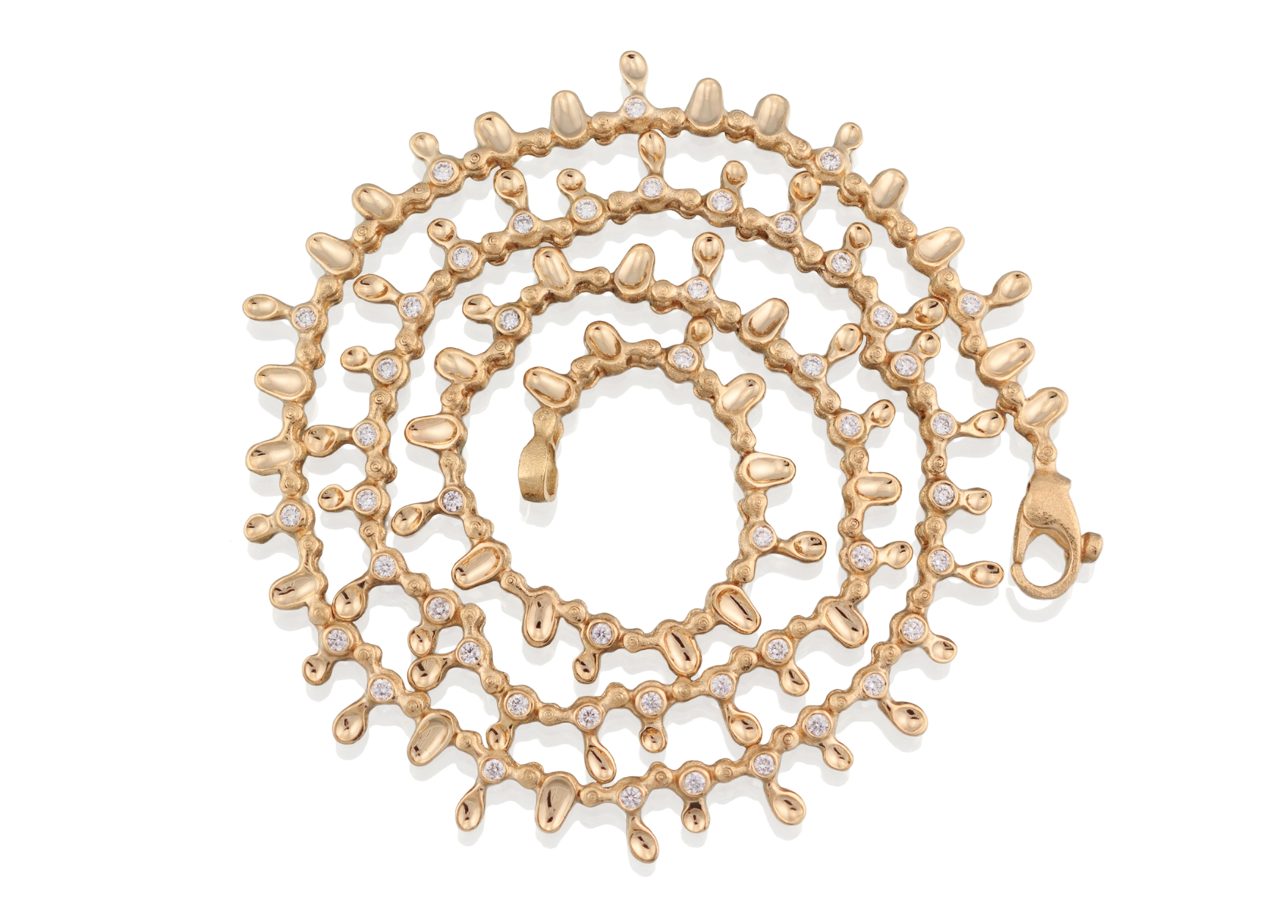 Dew Drops. 18k yellow gold and white diamond necklace, 19in. length.jpg