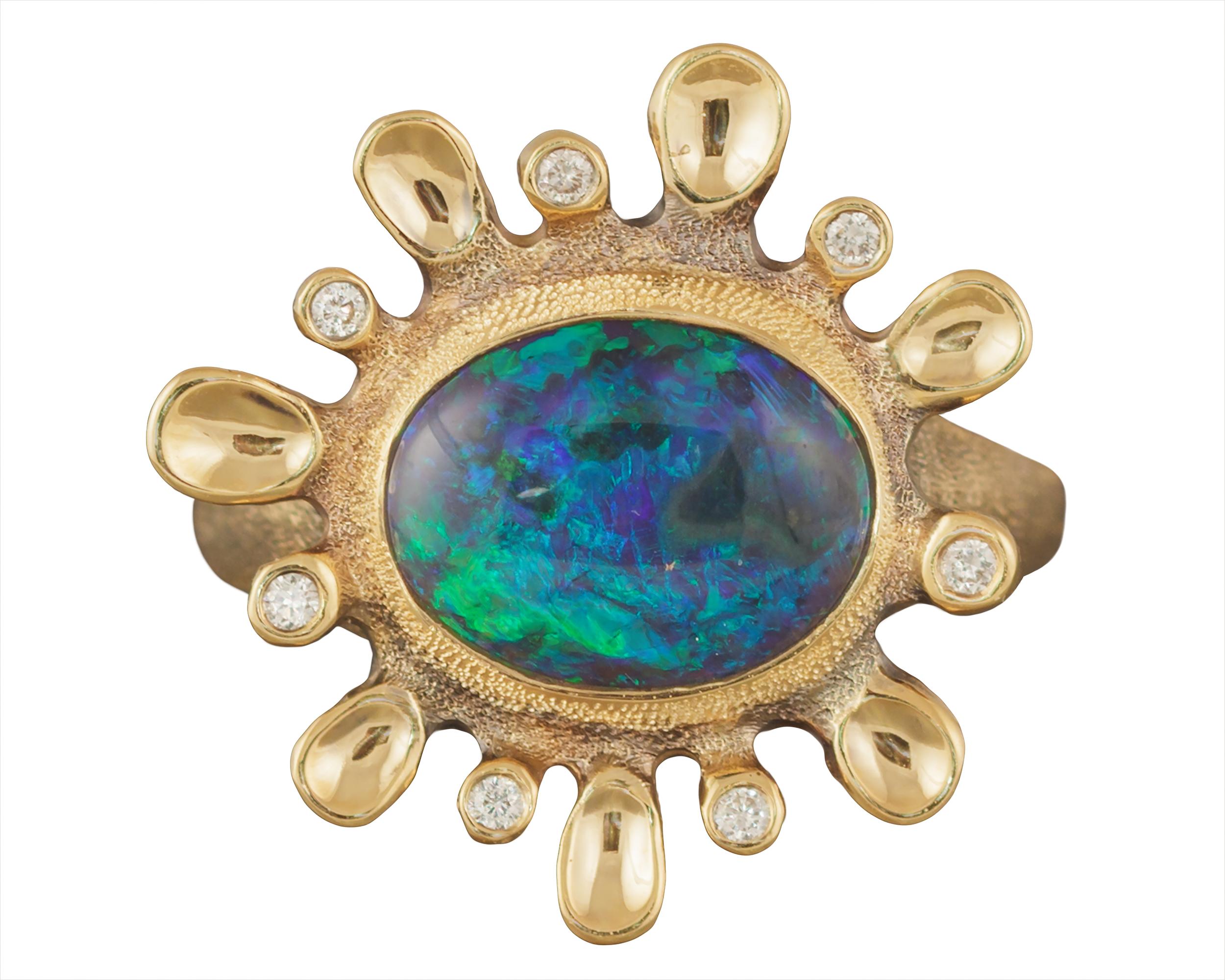 Dusk. 2.11ct. Black Opal, 18K yellow gold and white diamond ring.jpg