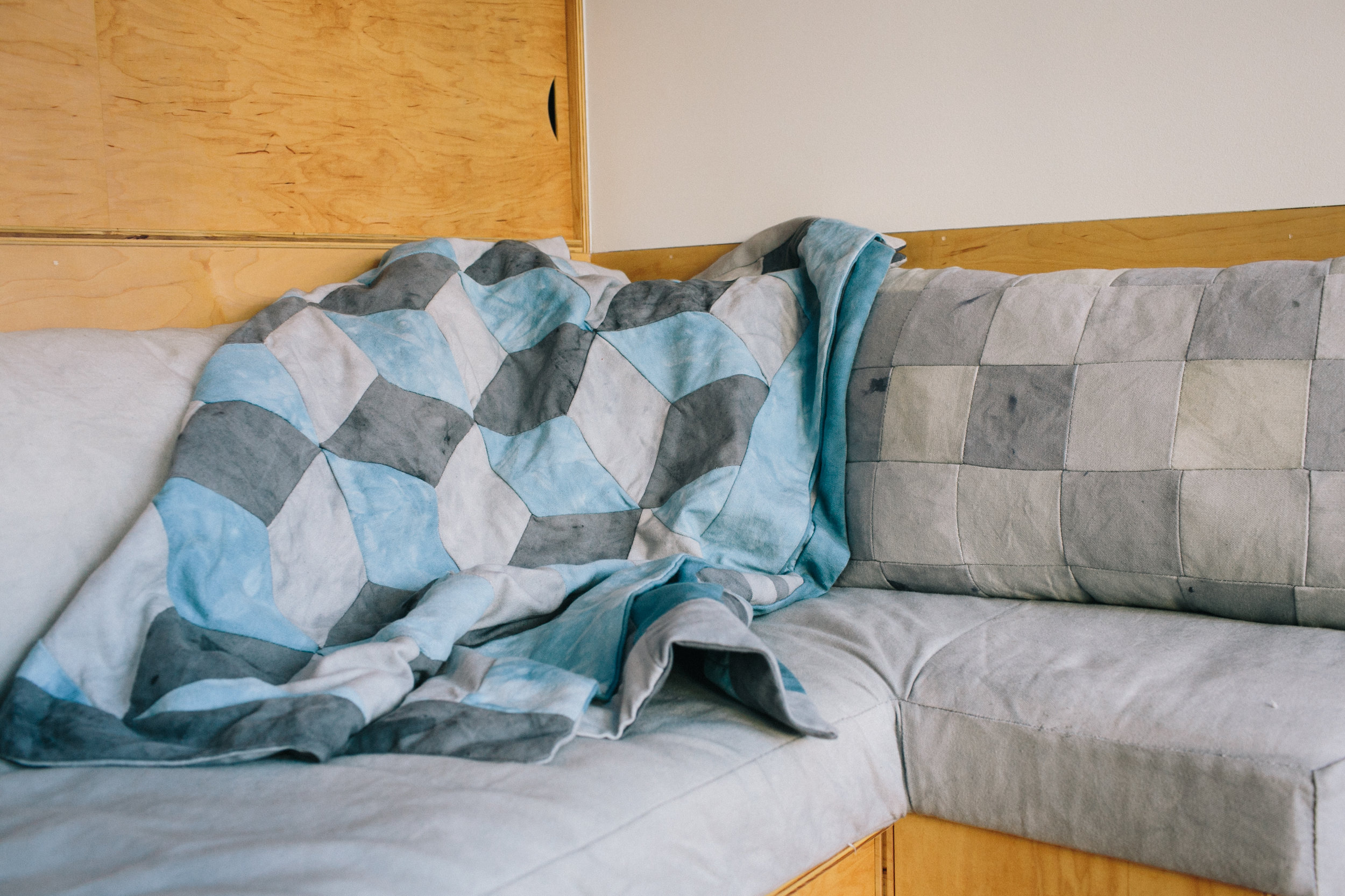 Tumbling Blocks Quilt - Oak Galls & Iron and Indigo Dye on Canvas Pillow - Oak Galls & Iron on Canvas