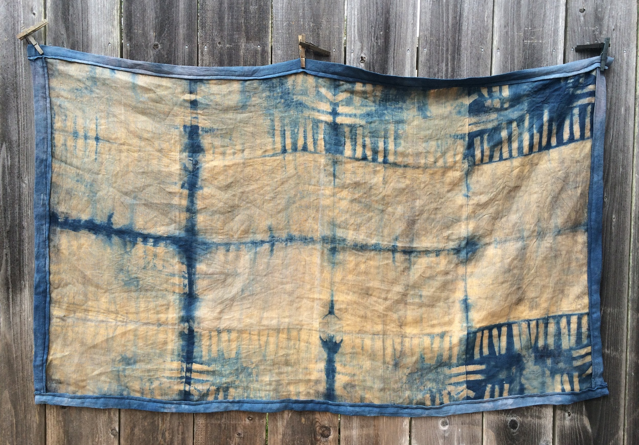 Table Runner, detail - Fennel over-dyed with Indigo on Linen