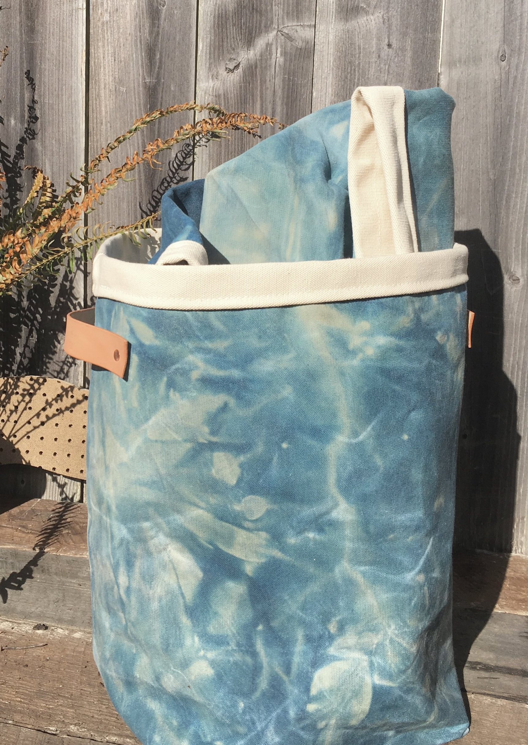 Laundry basket - Indigo dye finished with Beeswax on Canvas