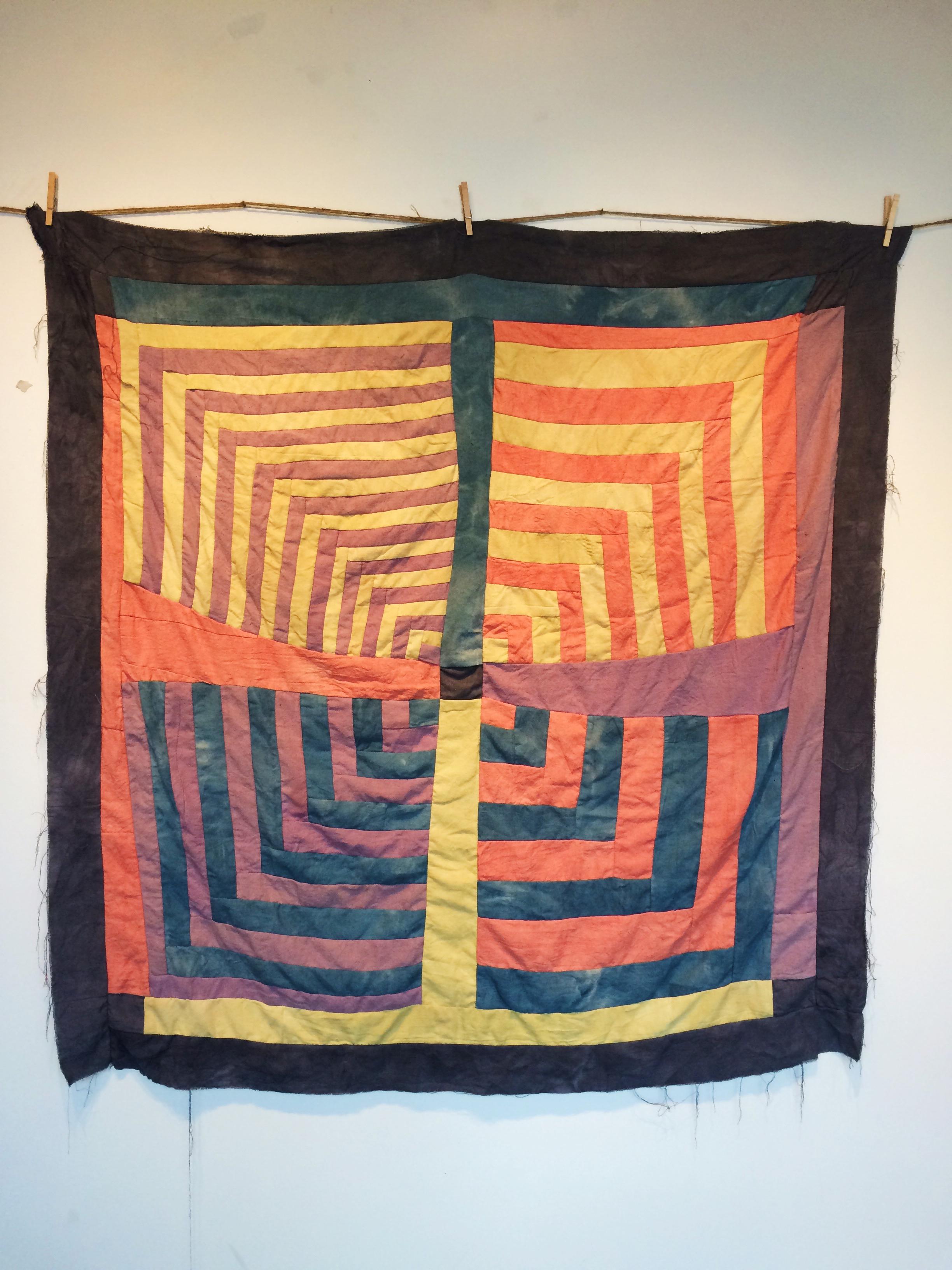 Oak Galls & Iron, Indigo, Madder Root, Osage Orange, and Logwood dyes on Khadi