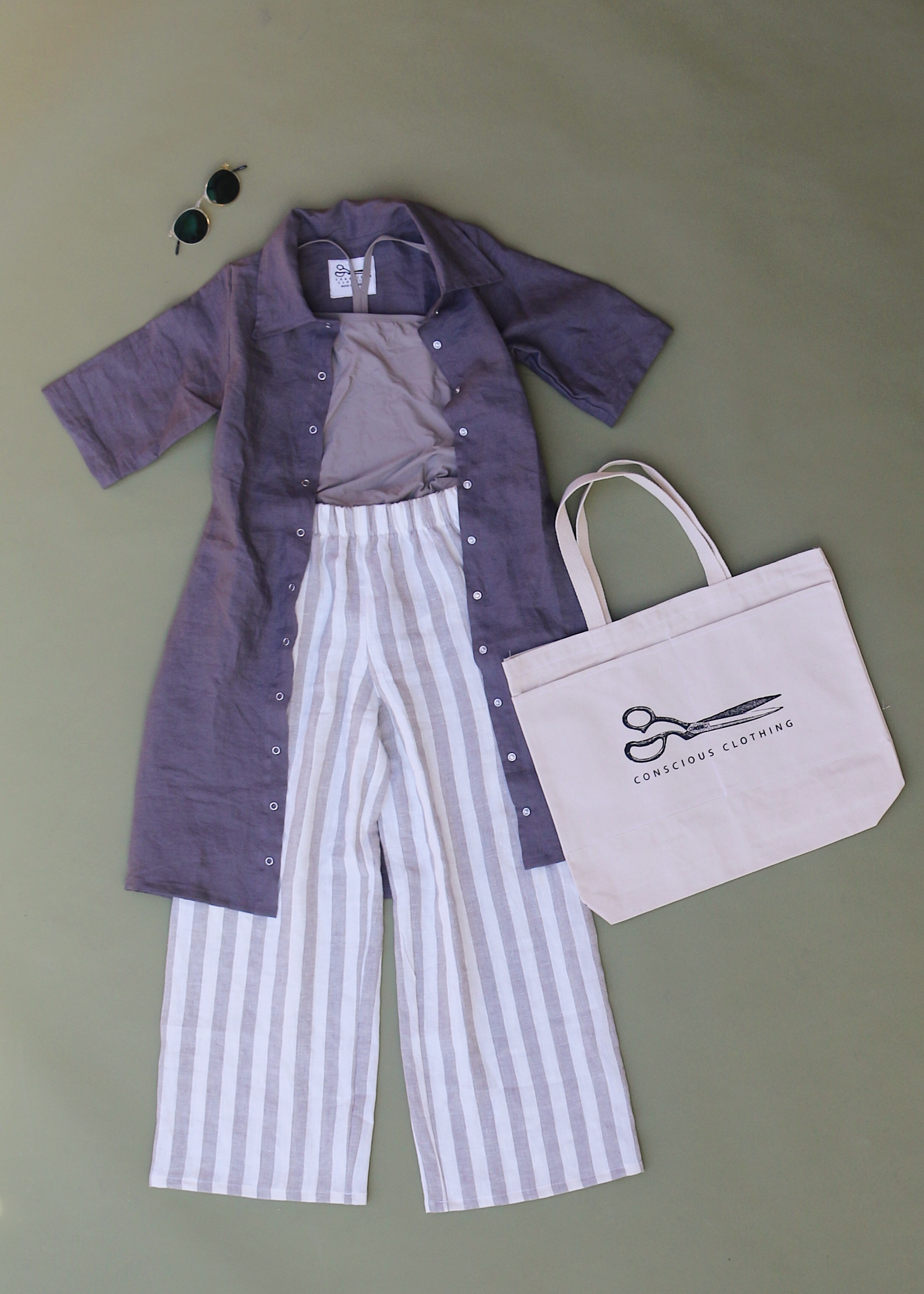 Revolution Dress in Concrete, Petoskey Pants in Stripe, and our canvas tote!