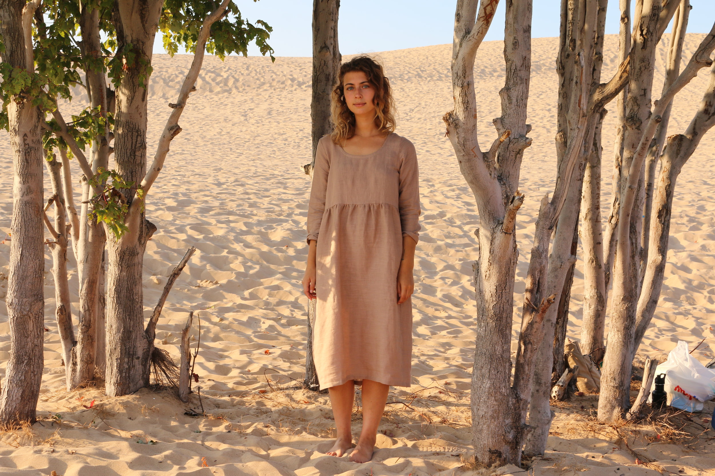 Our linen Ranch Dress at the Silver Lake Dunes
