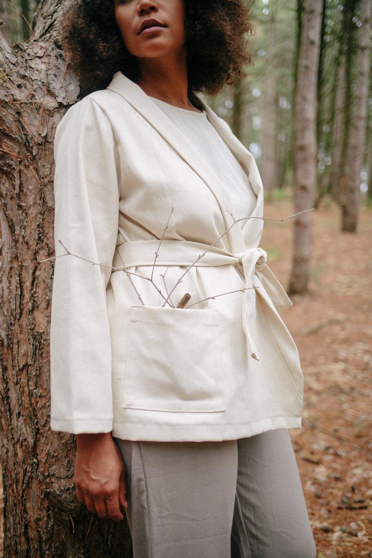 Denim Kimono Jacket in White
