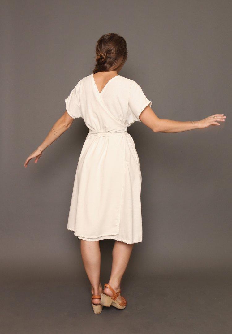 Selene Silk Wrap Dress in Natural