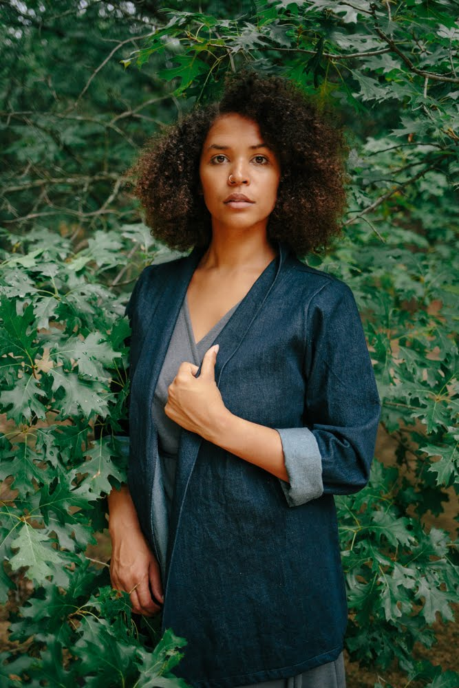 Our Denim Kimono Jacket uses organic cotton from Rawganique. Pictured in Indigo