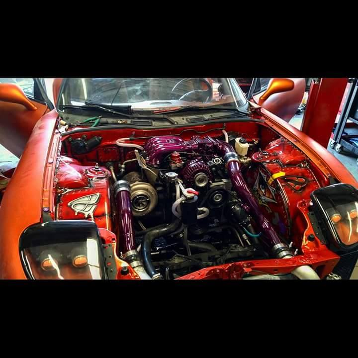 Keiths's13b-REW FD RX7 - …an extensive amount of time went into the bay work from us here. Although we do not paint here in house, there are several in the area that we can recommend.