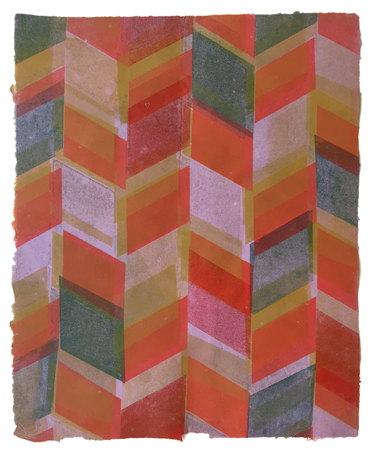 Katy G Collier,  Homage (Diamond Stripe for Ann) , Monotype on lavender paper made from quilts, 2018