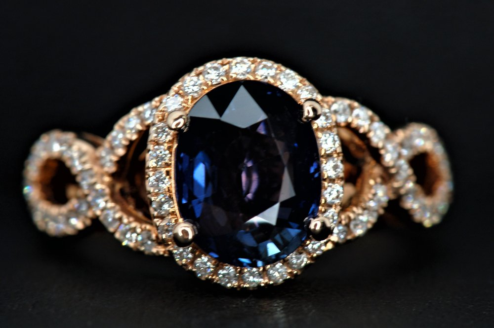 Blue Violet Sapphire And Diamond Ring