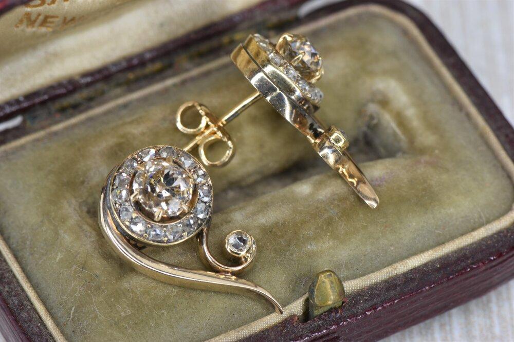 Vintage 14 Karat Yellow Gold Old Mine Cut Diamond Earrings Diamond Brokerage Jewelry Store Jewelry Repair Wholesale Diamonds Mandeville La