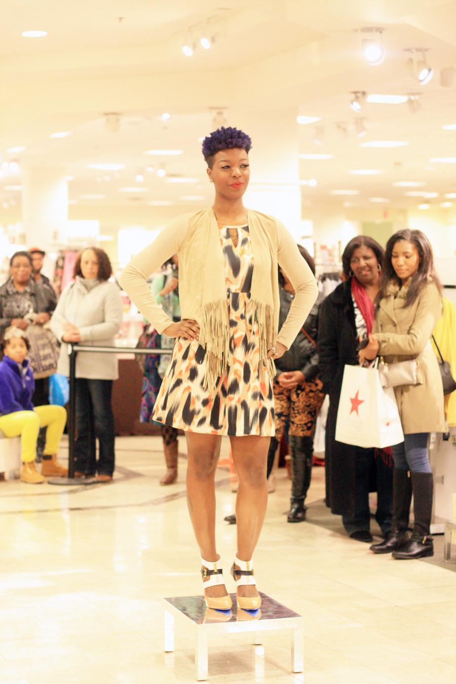 vince camuto fringe cardigan & printed dress | michael kors color blocked heel