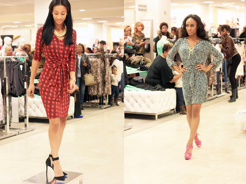(L) karen kane printed dress | steve madden pointed toe heels (R)  michael kors printed dress  | jessica simpson fushcia platforms