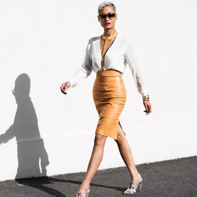 Andrea-Fenise-Leather-Skirt-Trend