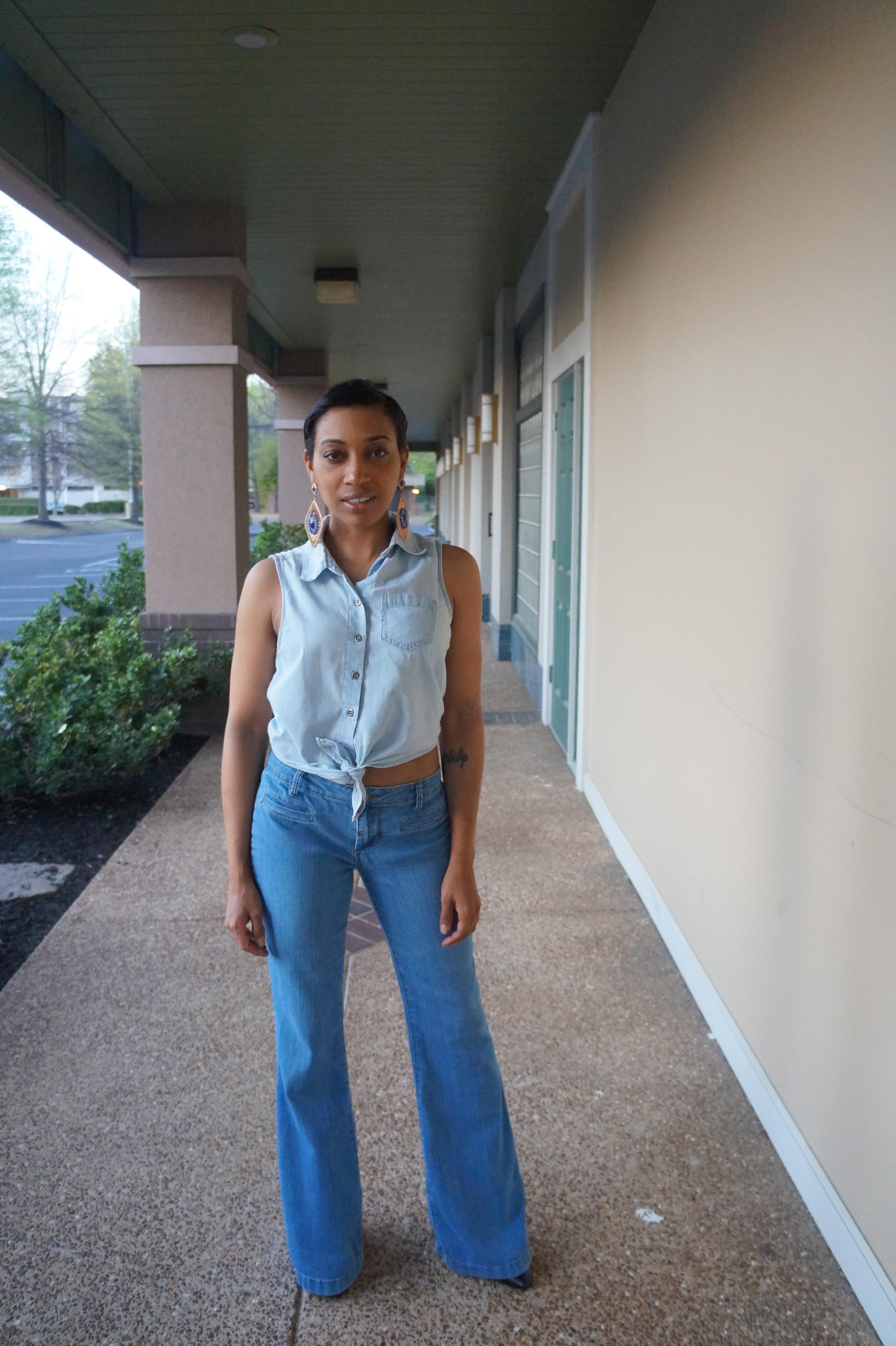 Andrea Fenise Memphis Fashion Blogger styles a denim on denim look