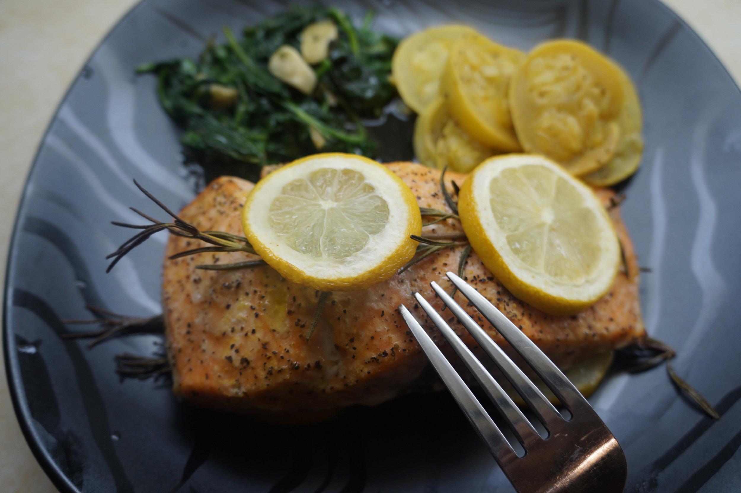 Andrea Fenise Lemon and Rosemary Baked Salmon Recipe