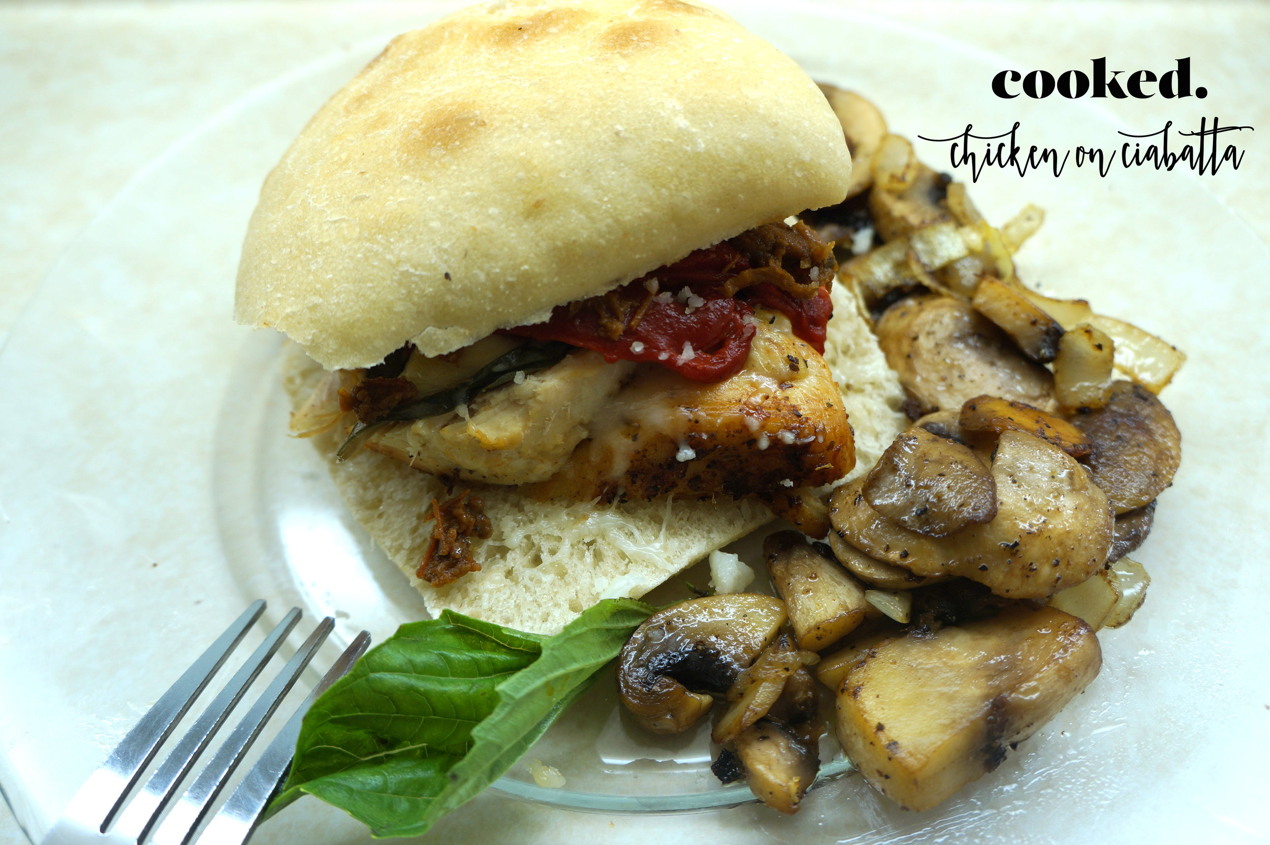 Andrea Fenise shares Italian Chicken with Sundried Tomato Pesto, Roasted Red Pepper and Mozarella Cheese on Ciabatta Roll