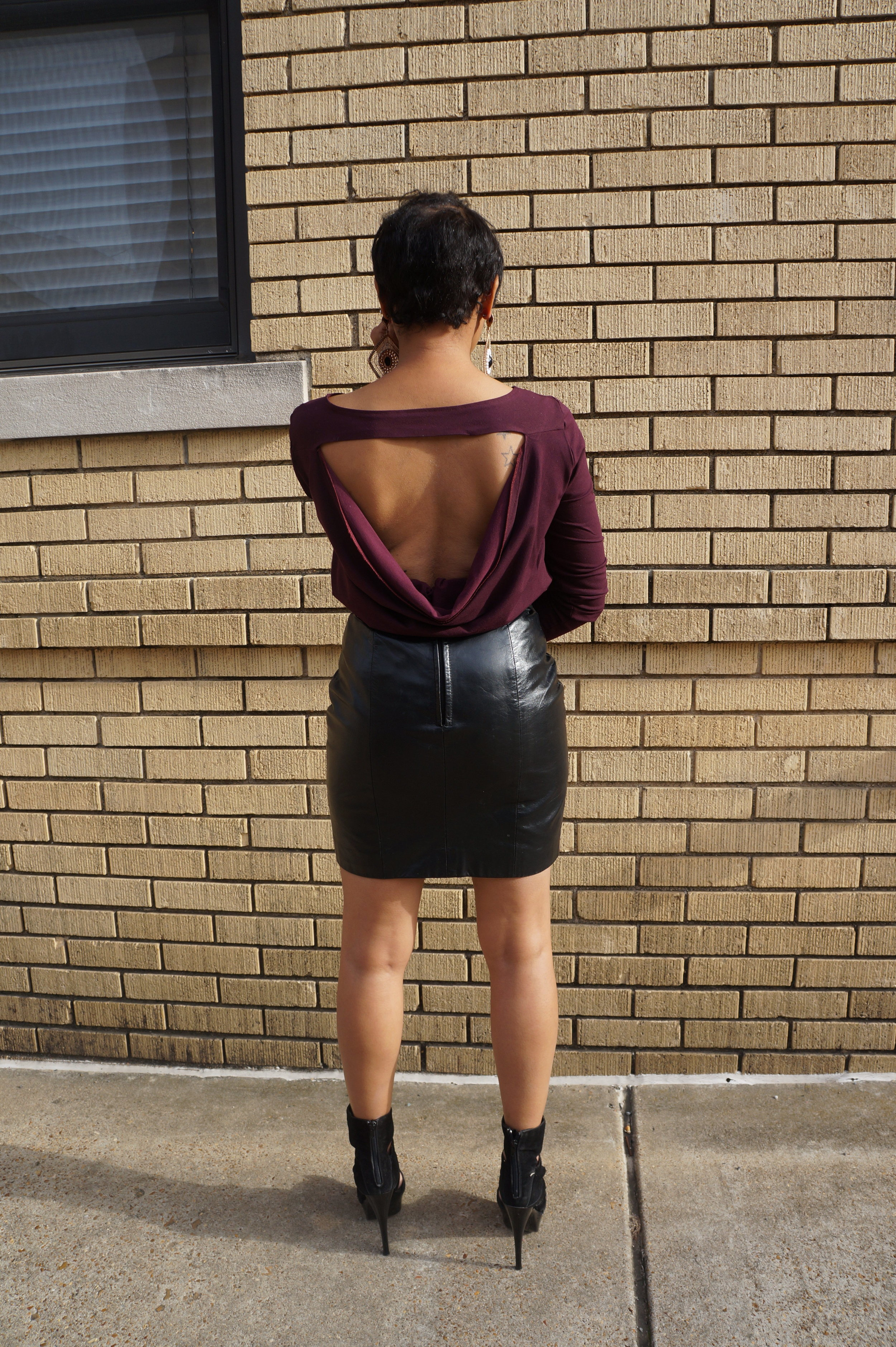 Andrea-Fenise-Cowl-Back-Marsala-Blouse-Vintage-Leather-Skirt