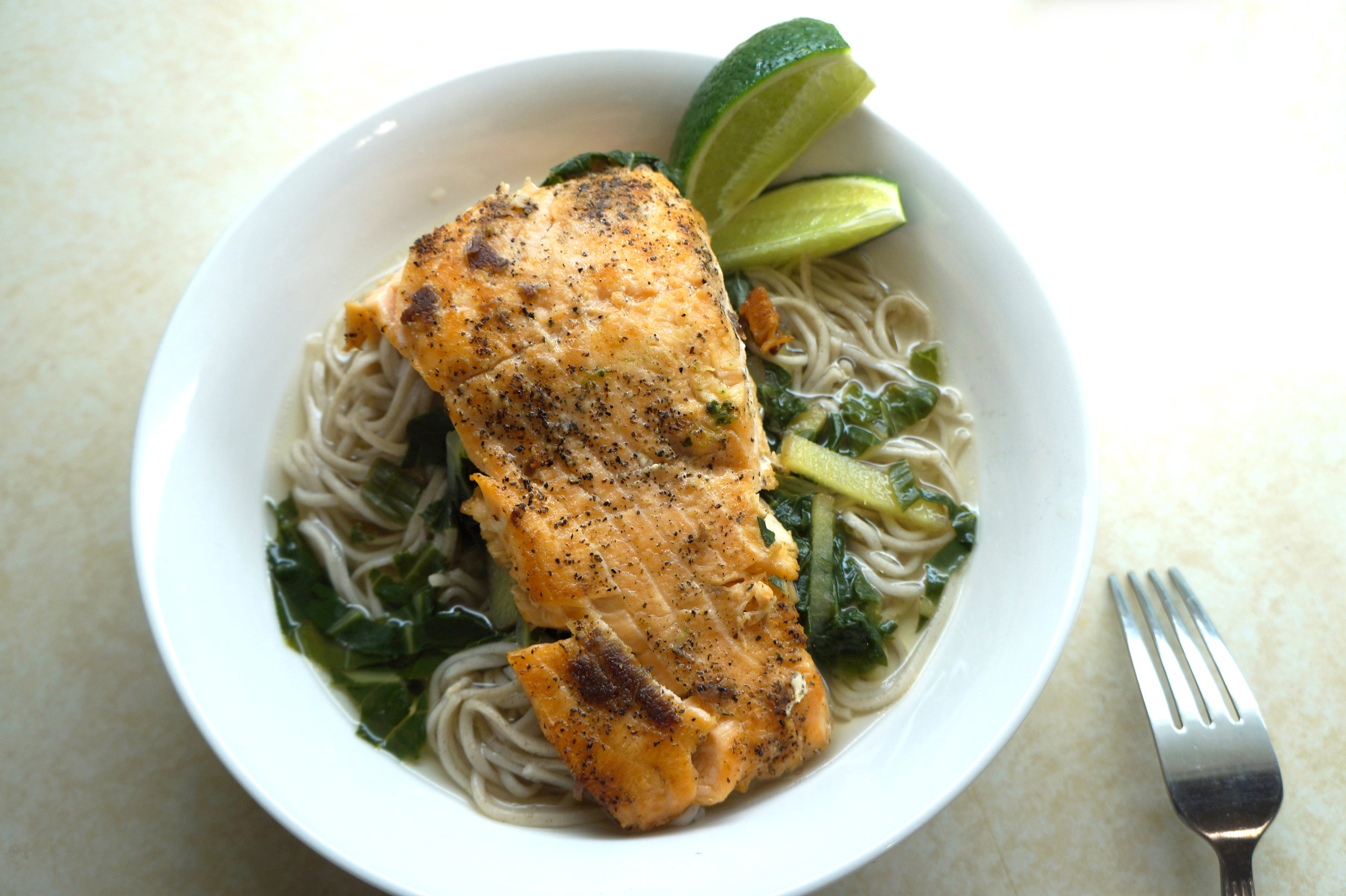 Andrea Fenise shares Japanese Ginger Broth and Salmon Recipe
