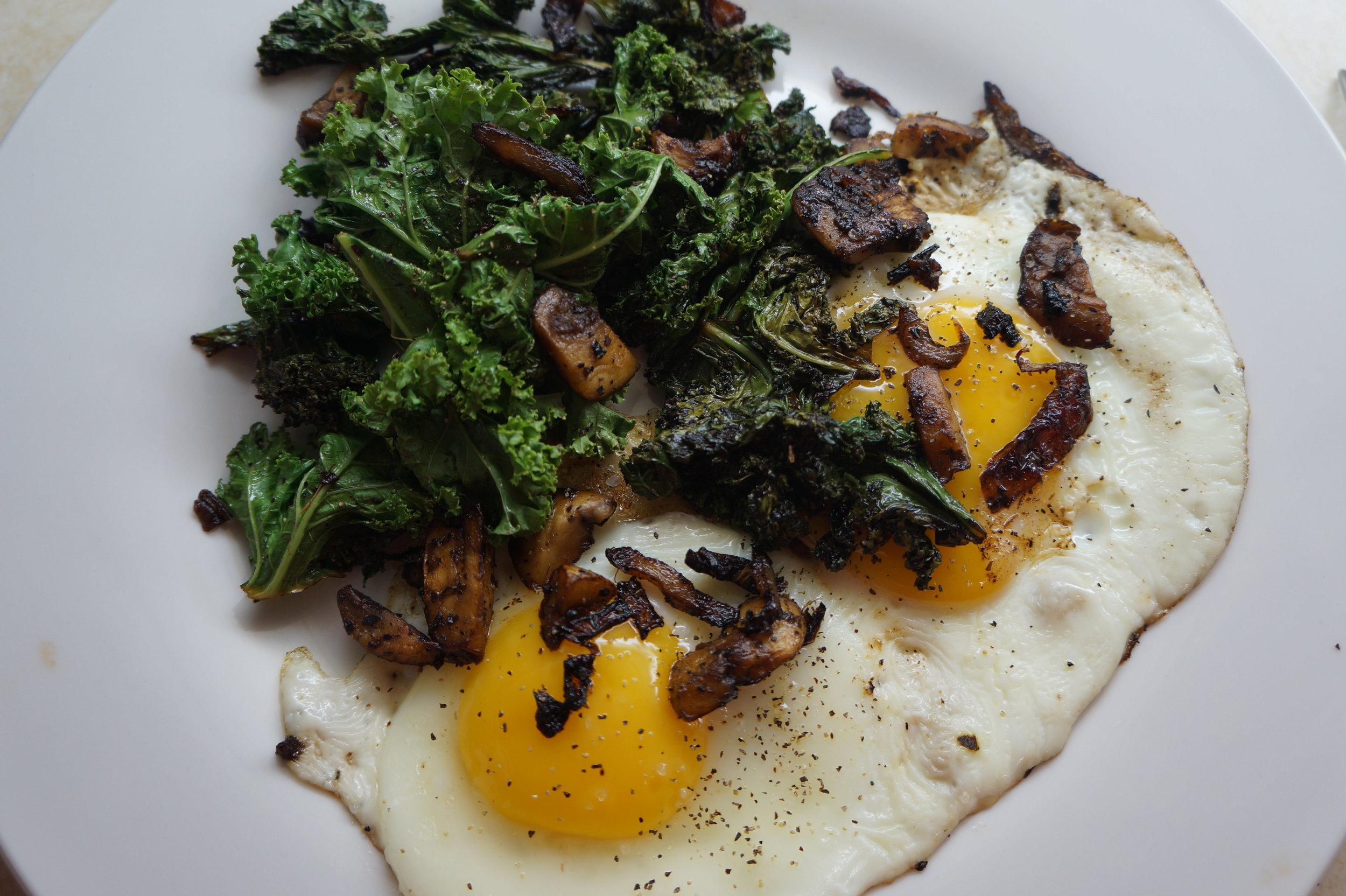 Andrea Fenise shares Sauteed Kale and Mushroom with Eggs Recipe