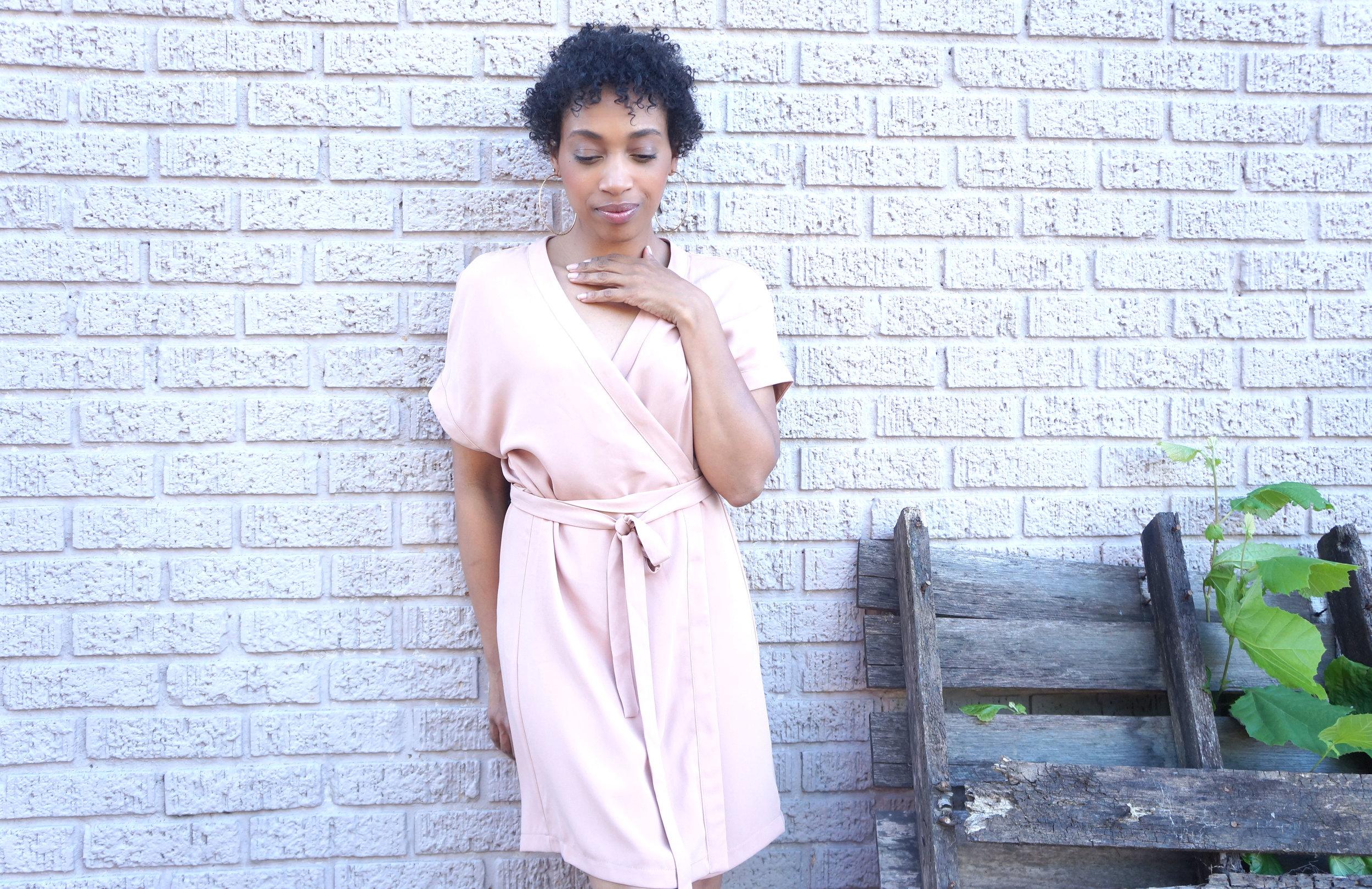 Andrea Fenise Memphis Fashion Blogger styles a blush wrap dress