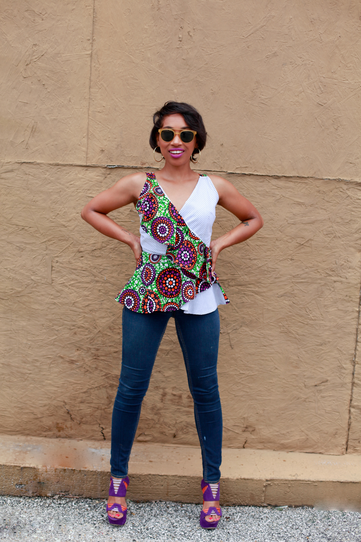 Andrea Fenise Memphis Fashion Blogger styles a africna print top