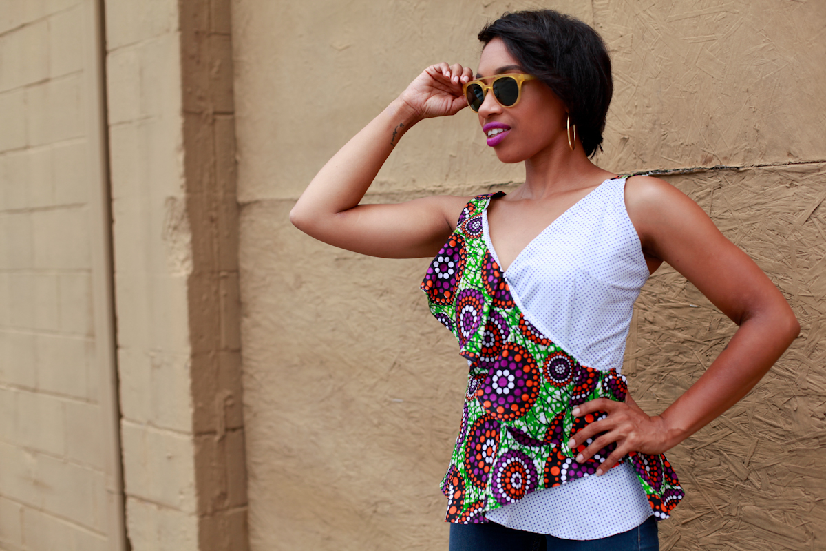 Andrea Fenise Memphis Fashion Blogger styles a african print top
