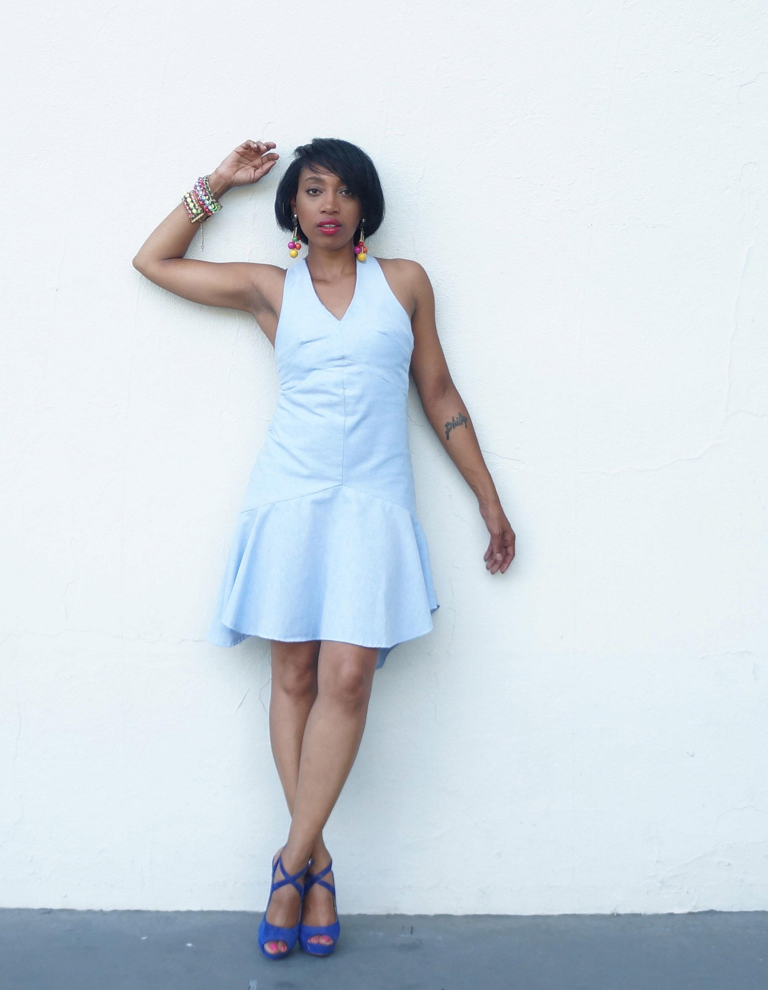 Andrea Fenise Memphis Fashion Blogger styles a drop waist dress