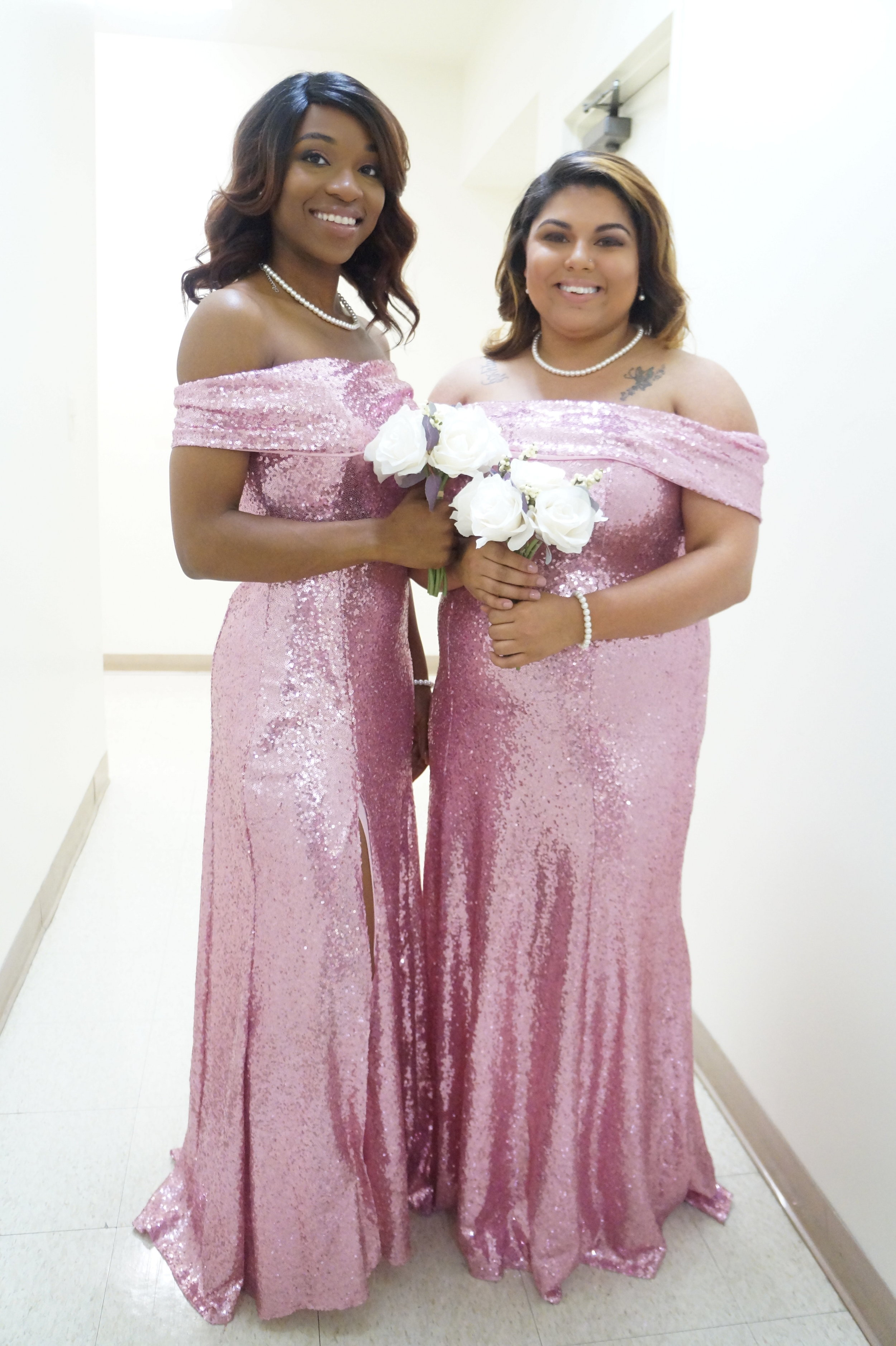 Andrea Fenise Memphis Fashion Blogger sequin bridesmaid dresses